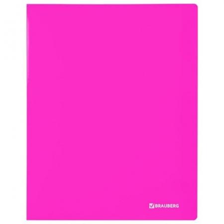 "Папка на 2 кольцах BRAUBERG ""Neon"", 25 мм, внутренний карман, неоновая розовая_1"