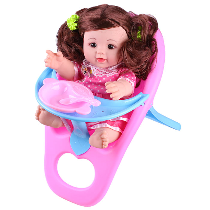 Кукла в стульчике + посуда в наборе. Игрушка