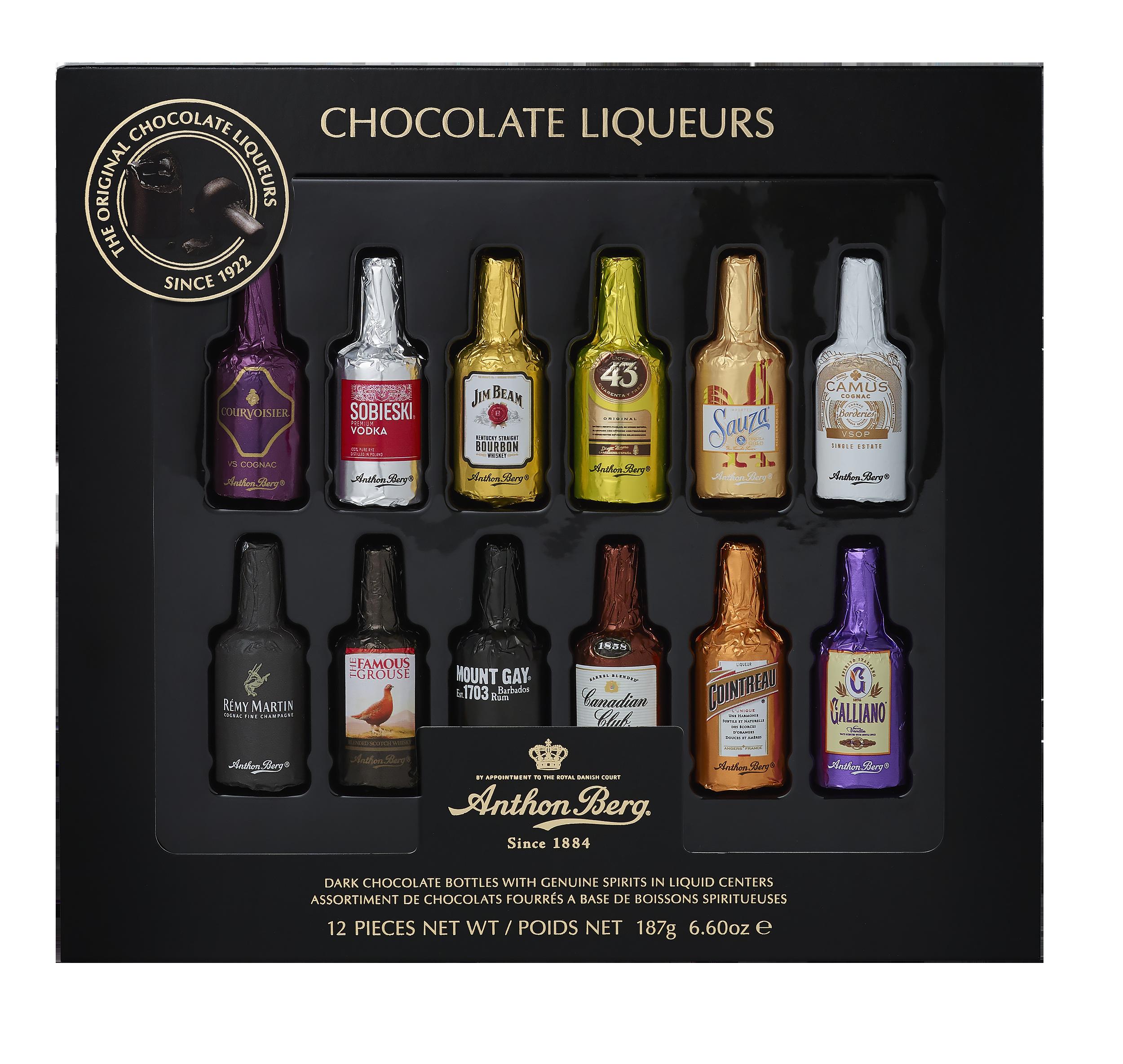 Anthon Berg Шоколадные конфеты бутылочки с премиальным алкоголем 187г