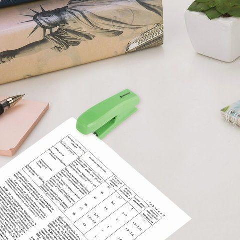 "Степлер №24/6, 26/6 BRAUBERG ""Standard"", до 25 листов, зеленый"