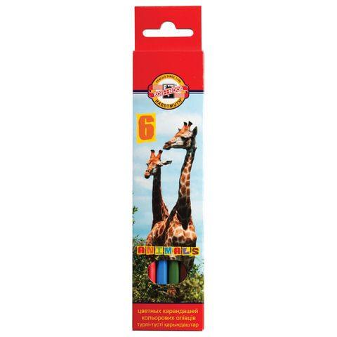 """Карандаши цветные KOH-I-NOOR """"Animals"""", 6 цветов"""
