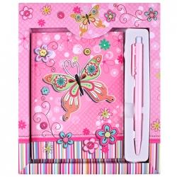 """Блокнот 11*15см 48л в подарочной упаковке + ручка """"бабочка"""" с блёстками"""