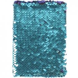 Блокнот 10,5*14,5 80л в клетку с реверсивными пайетками цвет ассорти