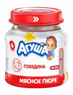 Агуша Пюре мясное Говядина 6,2% 80г ст/б