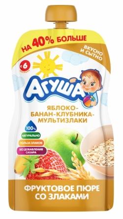 Агуша Пюре фрукЗерн Яблоко Банан Клубн Злак 130г пауч