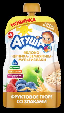 Агуша Пюре фрукЗерн Яблоко Черн Землян Злак 90г пауч