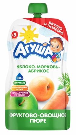 Агуша Пюре фрукОвощ Яблоко Абрикос Морковь 90г пауч