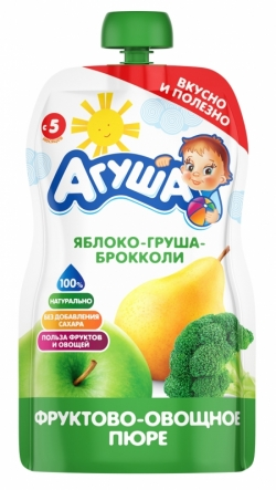Агуша Пюре фрукОвощ Яблоко Груша Броккол 90г пауч