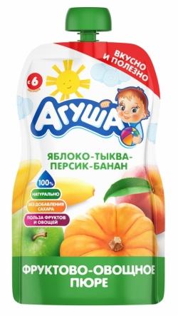 Агуша Пюре фрукОвощ Яблоко Персик Банан Тыква 90г пауч