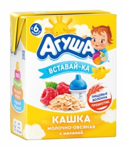 Агуша Каша Молоч 2,5%Овсянка Малина 200мл