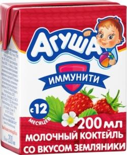 Агуша Коктейль молоч Земляника 2,5% 200мл