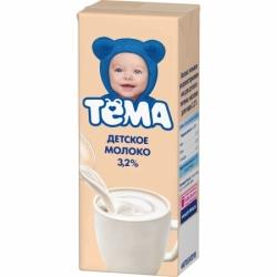 ТЕМА Молоко ультрапаст 3,2% 0,2л  с крышТетра