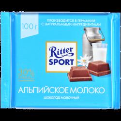"""Риттер Спорт""шок мол с альпийским молоком 100гр(12)"