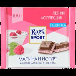 """Риттер Спорт""шок мол с малиной в йогурте 100гр(12)S"