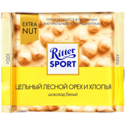 """""""Риттер Спорт""""шок бел лес орех, рис хл.100г(10)EXTRA"""