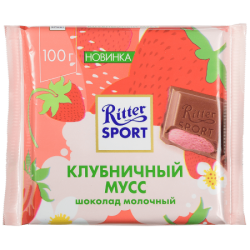 """""""Риттер Спорт""""шок мол с клубнич-крем нач 100г(11)S"""
