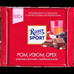 """Риттер Спорт""шок мол ром, орех, изюм 100гр(12)"