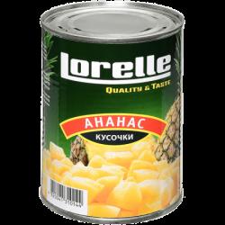 LORELLE Ананас кусочки в сиропе 580 мл ж/б (12)