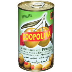 Coopoliva Оливки с красным перцем 370мл /350г (24) ж/б