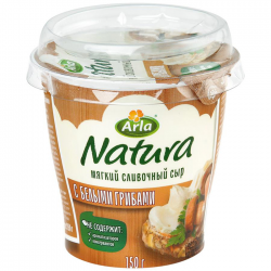 Арла Сыр Натура мягк cлив 55% жирн с бел гриб 150г (12)пл/ст