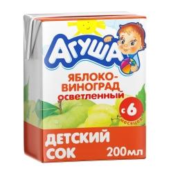 Агуша Сок осветленный Яблоко Виноград 200мл (18)