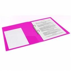 "Папка на 2 кольцах BRAUBERG ""Neon"", 25 мм, внутренний карман, неоновая розовая"