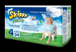 Трусики-подгузники детские Skippy Pull Up, р-р4 (9-14кг), 34 шт.