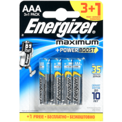 ENR Батарейка MAXIMUM AAA E92 Алкалин 1.5V 4шт (12) ПРОМО