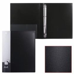 Папка на 4 кольцах БЮРОКРАТ, внутренний карман, черная, до 150 листов