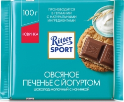 """Риттер Спорт""шок мол овсяное печ+йогурт 100г(11)НОВ"