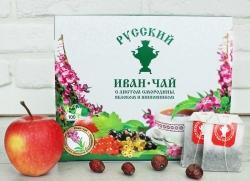 Русский Иван-чай с листом смородины, яблоком и шиповником, 100 пакетиков с ярлычком