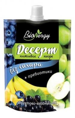 """Десерт фруктово-ягодный MIX """"Голубика-Яблоко-Черная смородина-Банан"""" """"BioNergy"""", 0,14 л."""