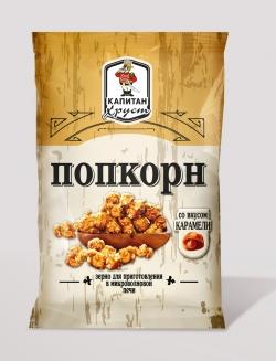 """Попкорн  зерно для  СВЧ """"Капитан Хруст"""" карамель, 90 г"""