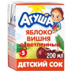 Агуша Сок осветленный Яблоко Вишня 200мл (18)