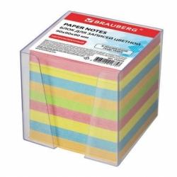Блок для записей BRAUBERG в подставке прозрачной, куб 9х9х9 см, цветной