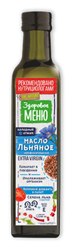 Масло Здоровое меню льняное нераф 0,25л (9)