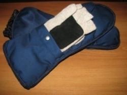 Митенки-перчатки со съемной головкой, трикотажные под рукавицы-краги с утеплителем из оленьей шерсти