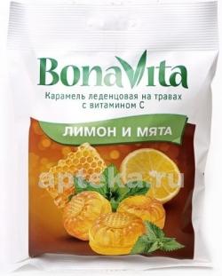 Карамель леденц Bona Vita Лимон и мята с вит.С Т20х60г