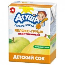 Агуша Сок осветленный Яблоко Груша 200мл (18)
